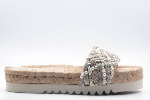 Sandalia Coral Trenzada Platino